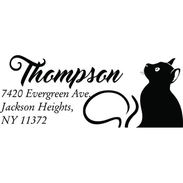 Black Cat Custom Address Stamp-Self Inking. Personalized Rubber Stamp With Return Address