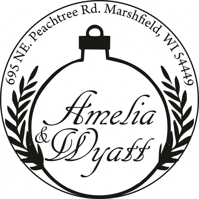 Sparkling Ornaments Custom Round Address Stamp-Self Inking. Personalized Rubber Stamp With Return Address