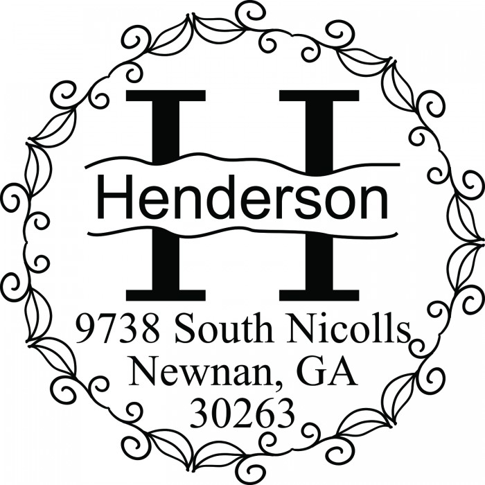 Curly Vines Monogram Custom Round Address Stamp Self Inking Personalized Rubber With Return