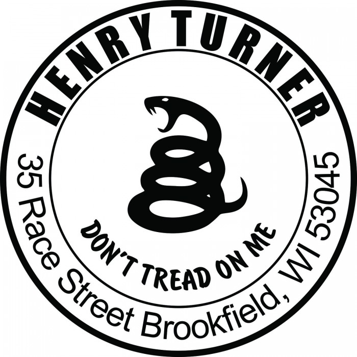 Dont Tread On Me Snake Custom Round Address Stamp Self Inking Personalized Rubber With Return
