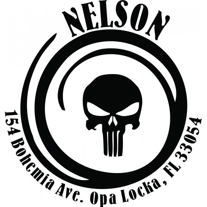 Grunge Skull Spiral Custom Round Address Stamp Self Inking Personalized Rubber With Return