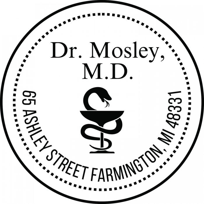 Snake And Chalice Medical Symbol Custom Round Address Stamp Self