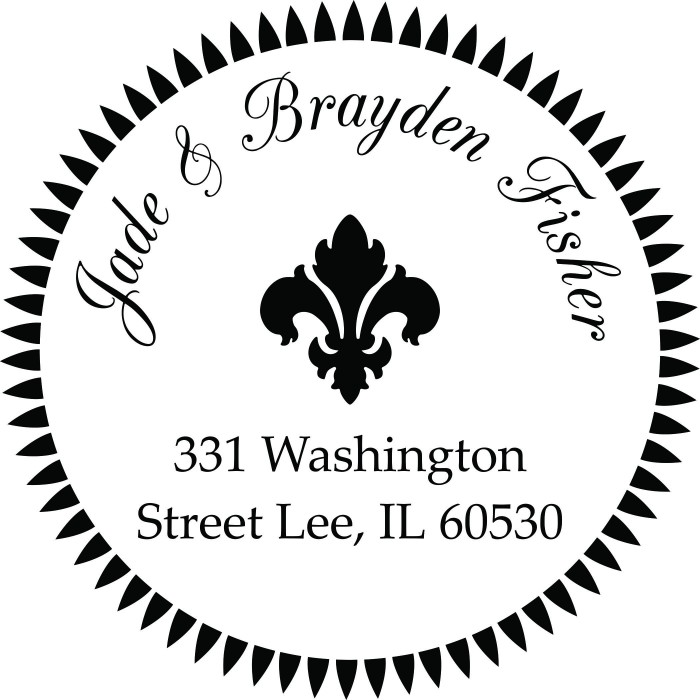 Brazen Fleur De Lis Custom Round Address Stamp Self Inking Personalized Rubber With Return