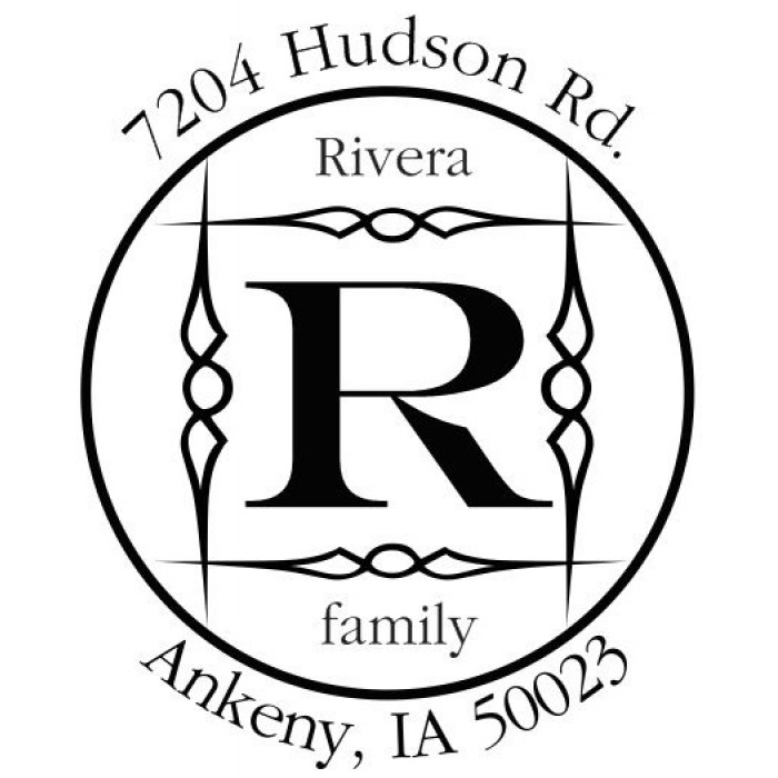 Stained Glass Architecture Custom Round Address Stamp-Self Inking. Personalized Rubber Stamp With Return Address