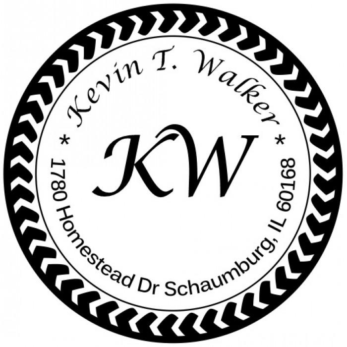 Arrow Wheel Custom Round Address Stamp Self Inking Personalized Rubber With Return