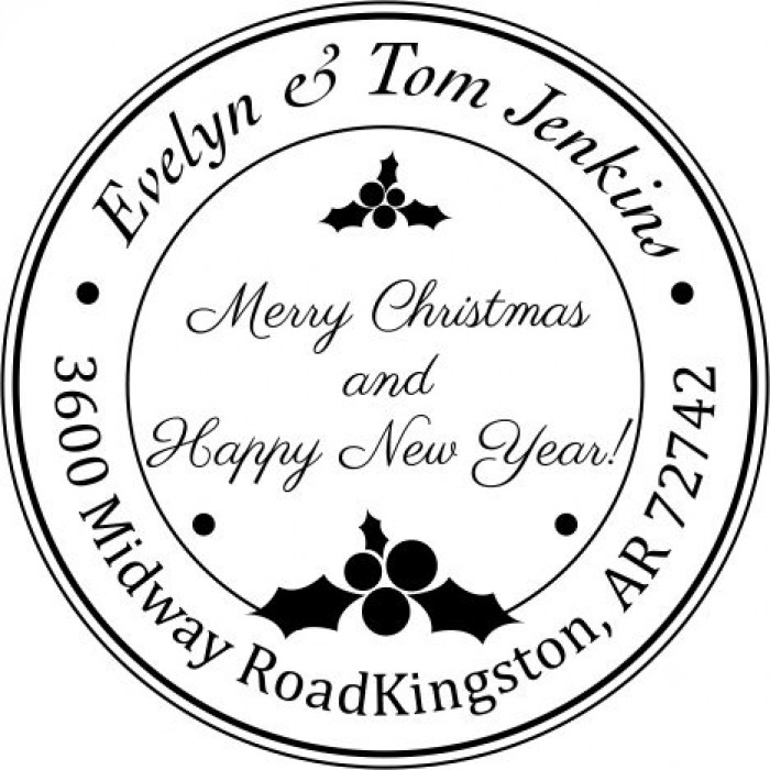 Merry Mistletoe Custom Round Address Stamp Self Inking Personalized Rubber With Return