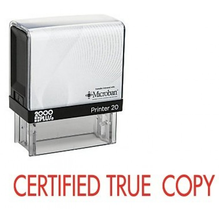 Certified True Copy Capital Letters Rubber Stamp 700x700
