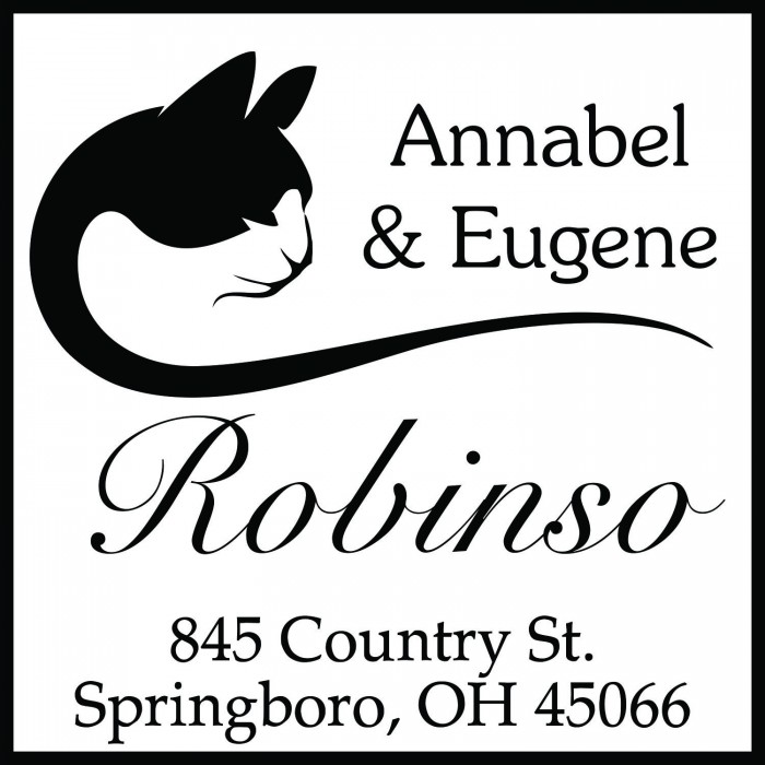 Black and White Cat Custom Square Address Stamp Self Inking Personalized Rubber Stamp With Return Address