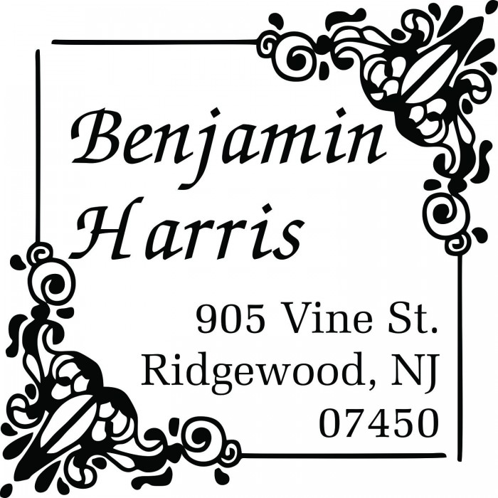 8194ba8d93 Elaborate Floral Bouquet Custom Square Address Stamp Self Inking  Personalized Rubber Stamp With Return Address