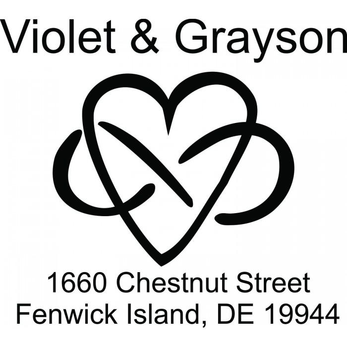 Infinity Heart Love Symbol Custom Square Address Stamp Self Inking