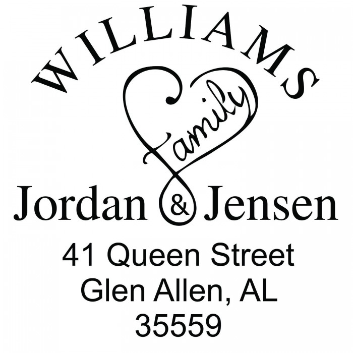 faith and family love custom square address stamp self inking