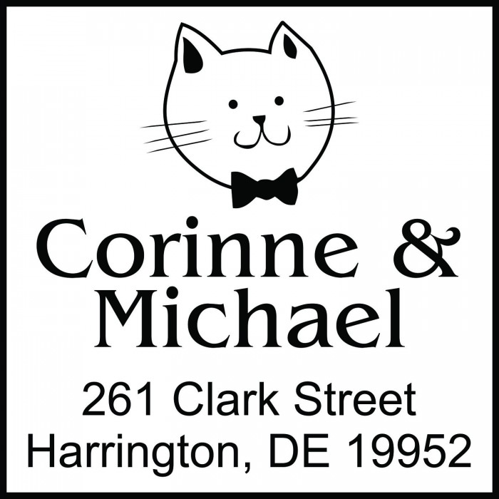 Gentleman Cat Custom Square Address Stamp Self Inking Personalized Rubber Stamp With Return Address