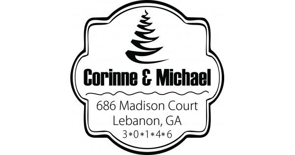 Seamless Christmas Tree Custom Square Address Stamp Self ...