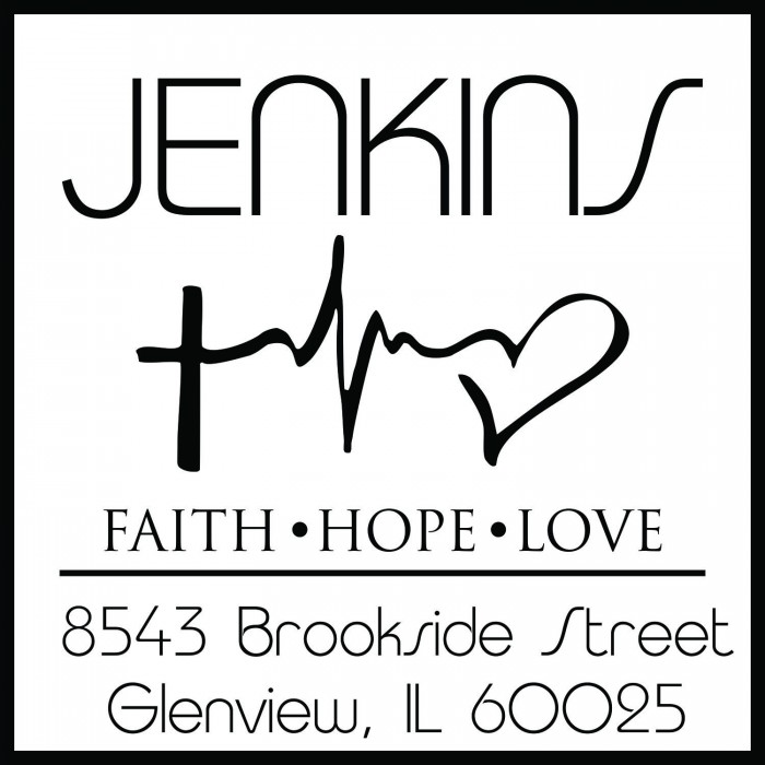 Seamless Faith Hope Love Symbol Custom Square Address Stamp Self