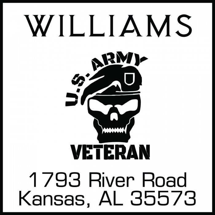 Skull US Army Veteran Custom Square Address Stamp Self Inking Personalized Rubber With Return