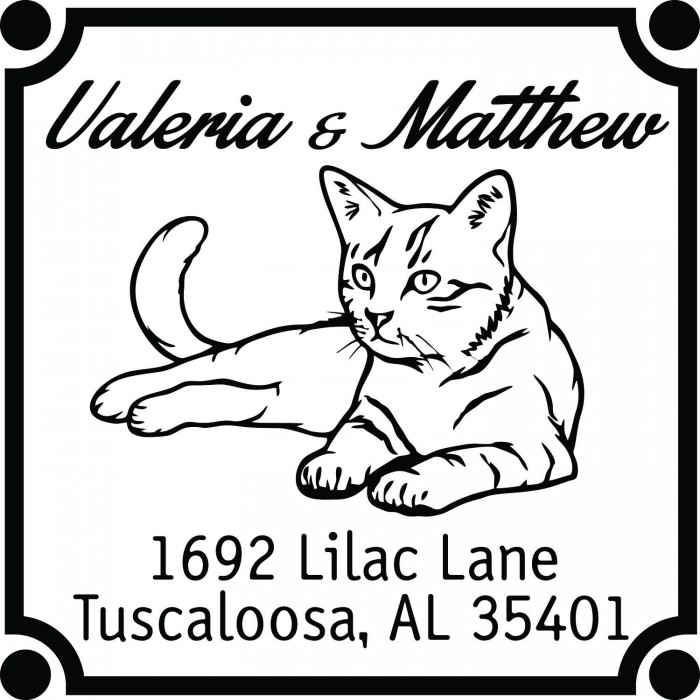 Majestic Cat Custom Square Address Stamp Self Inking Personalized Rubber Stamp With Return Address