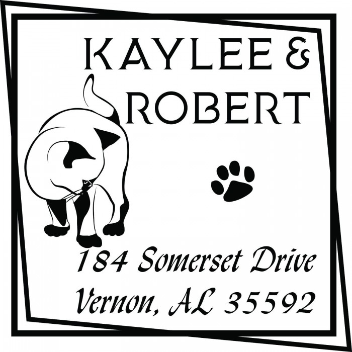 cat paw print custom square address stamp self inking personalized